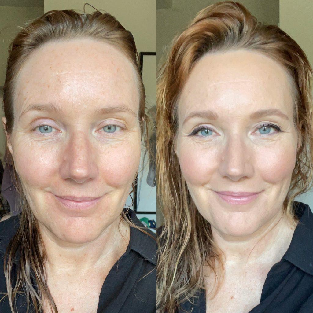 Makeup med hjälp av biologiskt nedbrytbar makeupsvamp